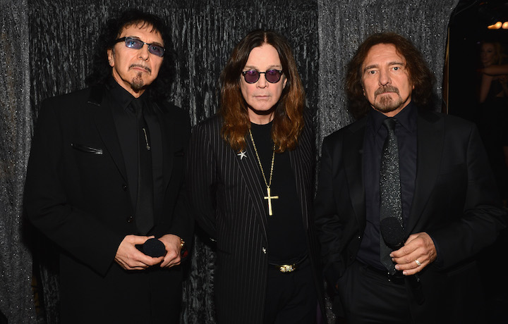Tony Iommi, Ozzy Osbourne, Geezer Butler ai Grammy Awards nel 2014, foto Getty Images