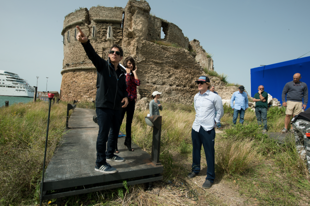 """Ben Stiller con la troupe sul seti di """"Zoolander 2"""" a Roma"""