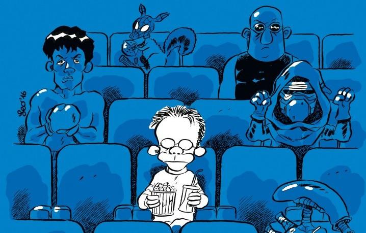 """La copertina di """"CineMAH presenta: il buio in sala"""", il nuovo libro a fumetti di Leo Ortolani"""
