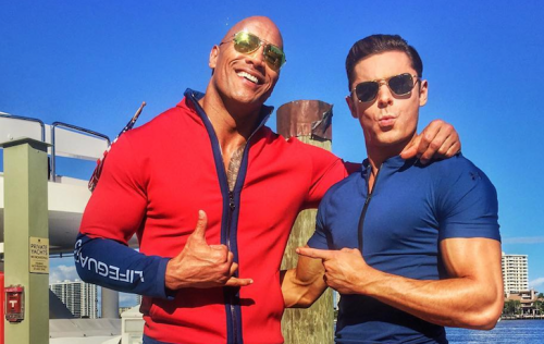 "Zac Efron e Dwayne Johnson sul set di ""Baywatch"""