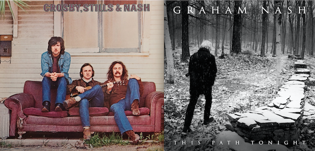 "A sinistra, la copertina di ""Crosby, Still & Nash"" del 1969, a destra la copertina dell'ultimo disco solista di Graham Nash ""This Path Tonight"""