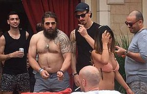 Martin Castrogiovanni durante i festeggiamenti a Las Vegas del PSG