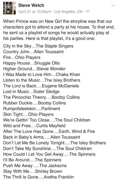 playlist prince festa