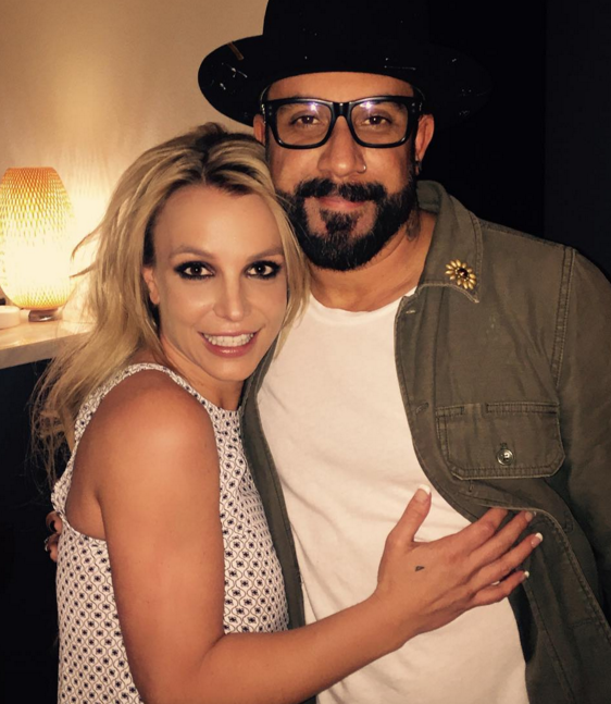 "Britney Spears in compagnia di AJ McLean dei Backstreet Boys, dopo una data del ""Piece Of Me"" Show"