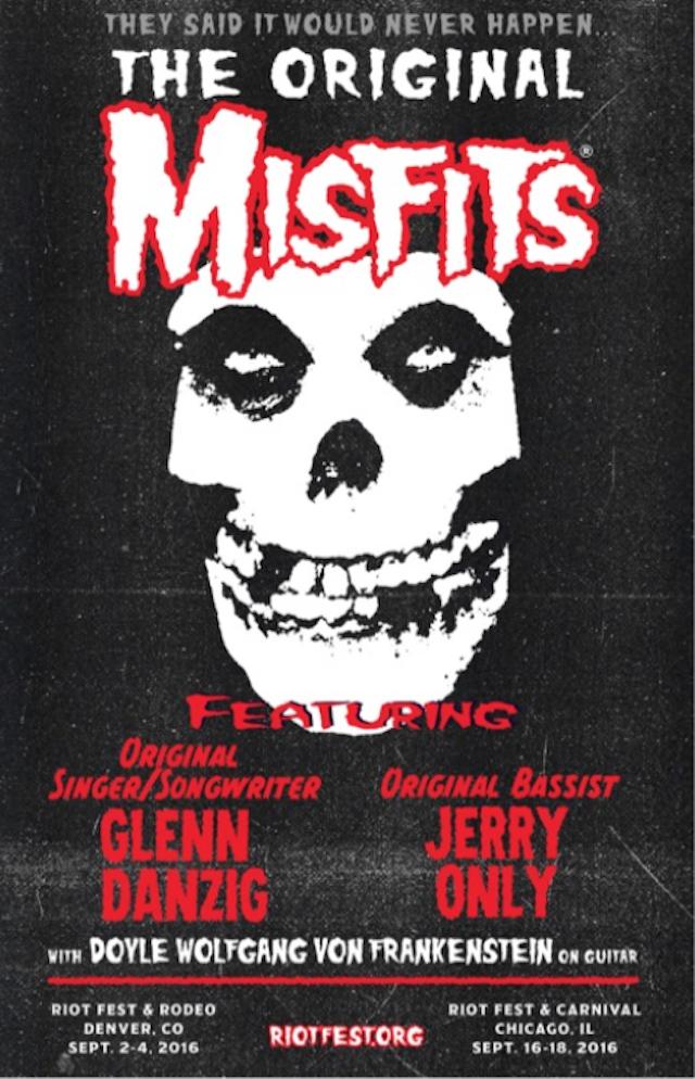 I Misfits suoneranno al Riot Fest & Rodeo di Denver, in programma 2-4 Settembre 2016, e al Riot Fest & Carnival, dal16-18 Settembre 2016 a Chicago