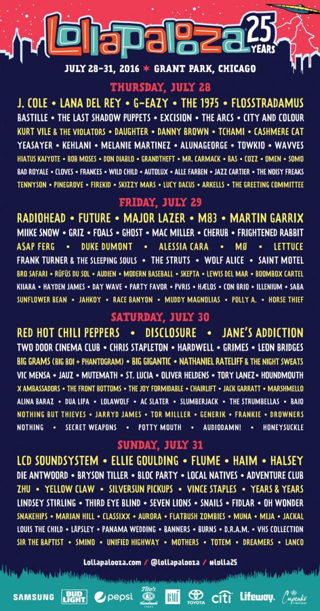 Lollapalooza 25, dal 28 al 31 luglio al Grant Park di Chicago