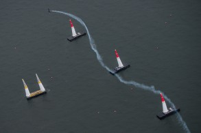 Matt Hall of Australia performs during the finals of the third stage of the Red Bull Air Race World Championship in Chiba, Japan on June 5, 2016.