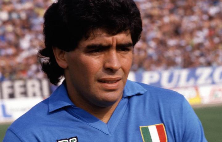 Diego Maradona nella stagione 1987/88 con la maglia del Napoli