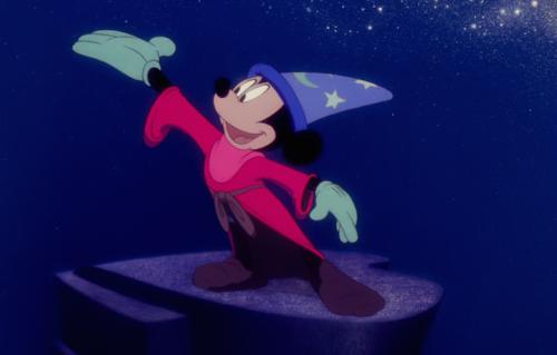 """Un'immagine di Topolino nel panni dell'Apprendista Stregone in """"Fantasia"""""""