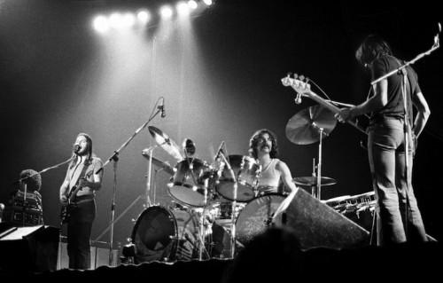 I Pink Floyd live nel 1974, foto Barrie Wentzell