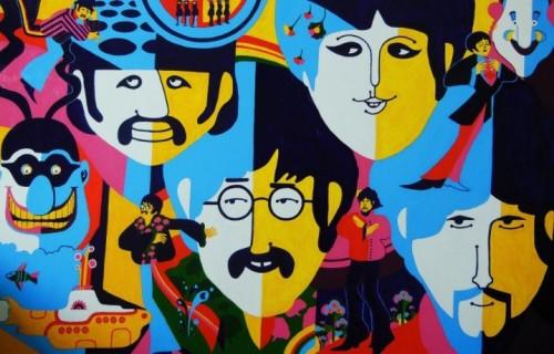 """Un'illustrazione dedicata a """"Yellow Submarine"""", il film d'animazione del 1968 diretto da George Dunning con protagonisti i Beatles"""