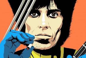 Billy Corgan, Jimi Hendrix, Bob Dylan, Chuck Berry, Joan Jett, Johnny Cash, Johnny Ramone, Keith Richards, Kurt Cobain, Prince, Slash, illustration, illustrazioni, super eroi, Butcher Billy,