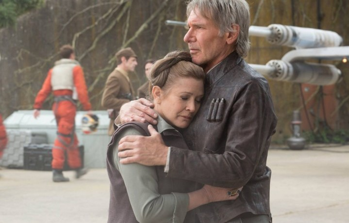 "Harrison Ford e Carrie Fisher sul set di ""Star Wars: The Force Awakens"""