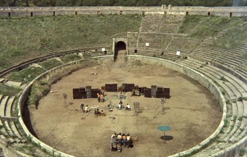 """Durante le riprese di """"Live at Pompeii"""" - Foto di Adrian Maben"""