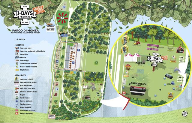 La mappa delle attività prevista l'8-9-10 luglio all'I-DAYS all'Autodromo Nazionale di Monza