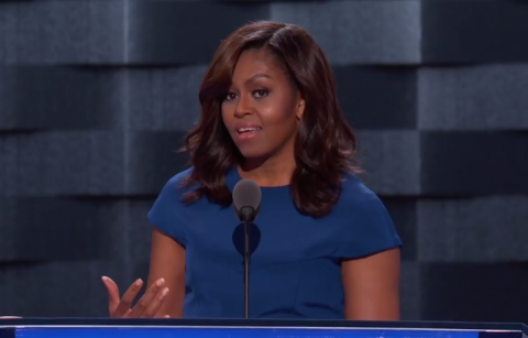 Michelle Obama durante il suo speech al DNC