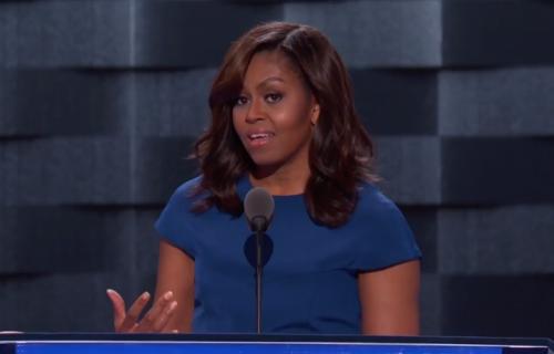 Michelle Obama durante il suo speech al DNC