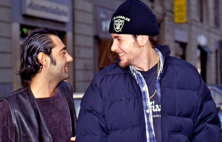 Luca Carboni e Jovanotti nel 1992, foto Mori Ubaldini/Olycom