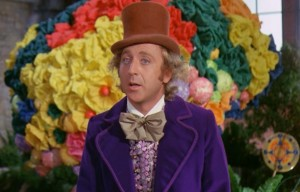 "Gene Wilder in una scena del film ""Willy Wonka e la fabbrica di cioccolato"" del 1971"