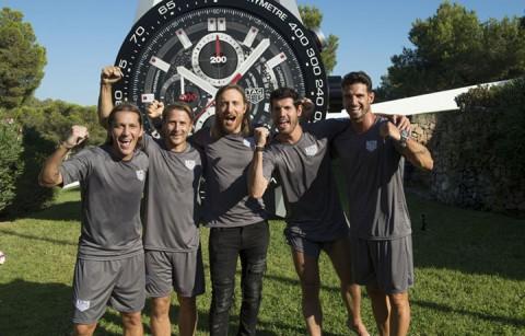 David Guetta insieme a Michel Salgado, Gaizka Mendieta, Albert Luque e Aitor Ocio, rappresentati de La Liga spagnola per TAG Heuer