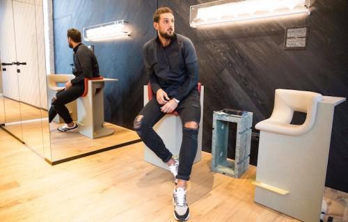 Marco Belinelli all'interno del nuovo NikeLab di Milano