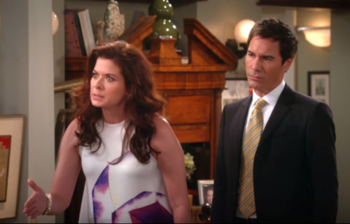 "Un frame della mini reunion di ""Will & Grace"" in favore di Hillary Clinton contro Trump"