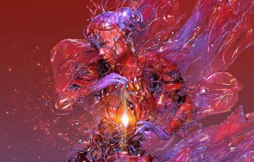 Un'immagine digitalizzata di Björk creata da Huang