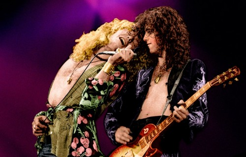 Robert Plant e Jimmy Page, Earls Court Arena, Londra maggio 1975. Foto Adrian Boot