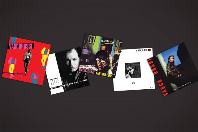 """5 degli LP storici di Vasco ovvero """"Vado al Massimo"""", """"Bollicine"""", """"Va bene, va bene così"""", """"Cosa succede in città"""" e """"C'è chi dice no"""""""