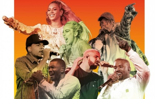 Foto Kevin Mazur/Wireimage (Beyoncé); Jenn Five (Lady Gaga); Scott Legato/Getty Images (Travis Scott); Scott Dudelson/Getty Images (Chance The Rapper); Jason Merritt/Getty Images (Frank Ocean); Denise Truscello/Wireimage (Drake); Dimitrios Kambouris/Getty Images (Kanye West)
