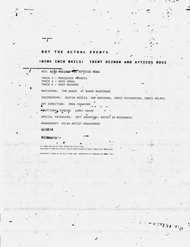 Nine Inch Nails, Not The Actual Events