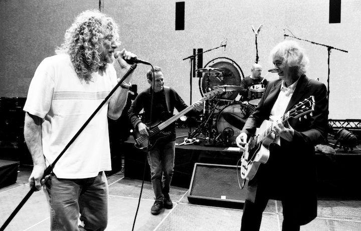 I Led Zeppelin durante le prove per la reunion del 2007, foto di Ross Halfin