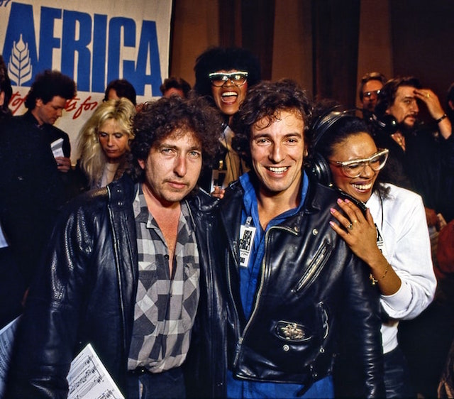 Bob Dylan e Bruce Springsteen foto di Harry Benson