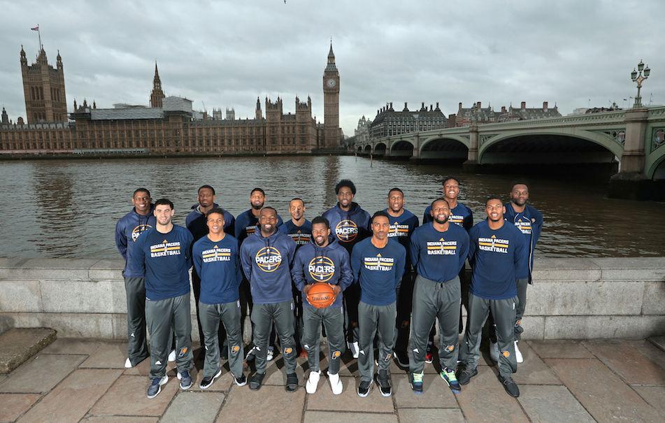 Gli Indiana Pacers a Londra il 12 gennaio 2017 per la partita di campionato NBA contro Denver Nuggets