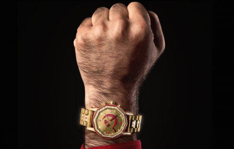 """Un dettaglio dalla copertina di """"Comunisti col Rolex"""" di Fedez e J-Ax"""