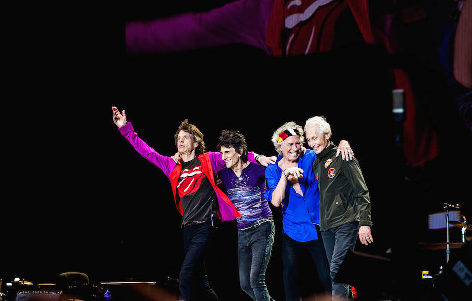 Mick Jagger, Ron Wood, Keith Richards e Charlie Watts a Indio, California lo scorso ottobre. Foto di Anjali Ramnandanlall