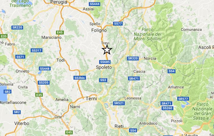 Terremoto oggi centro Italia: scossa magnitudo 4.1 a nord di Spoleto