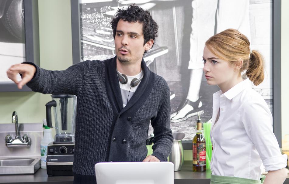 Damien Chazelle e Emma Stone sul set di La La Land