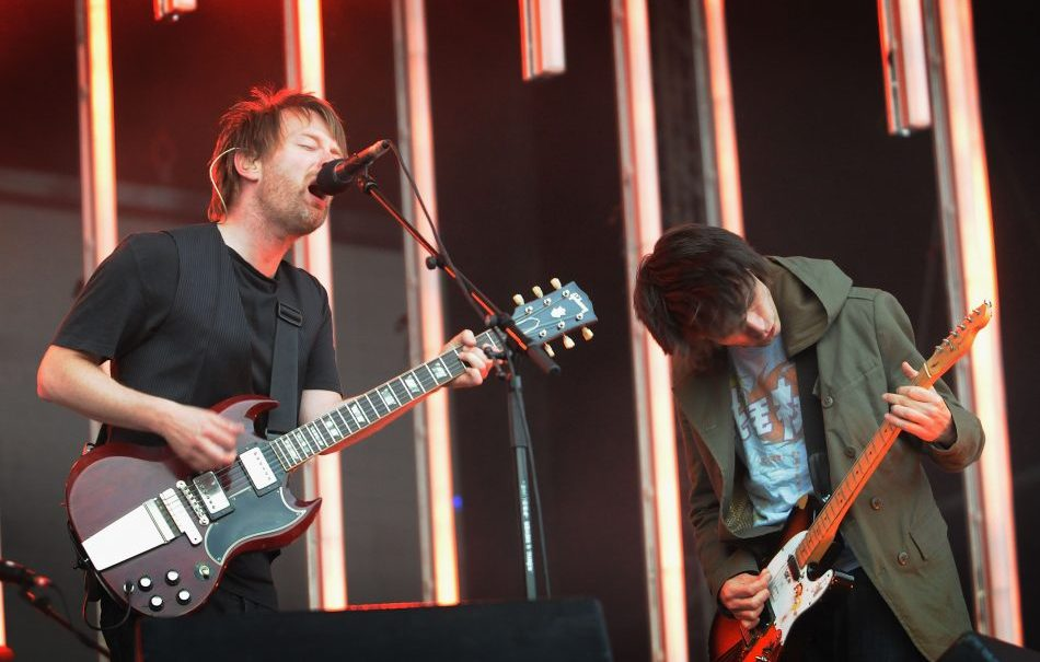 LONDON - JUNE 24: Thom Yorke and Jonny Greenwood of Radiohead perform during their first night at Victoria Park, in support of the album 'In Rainbows', on June 24, 2008 in London, England. (Photo by Jim Dyson/Getty Images)