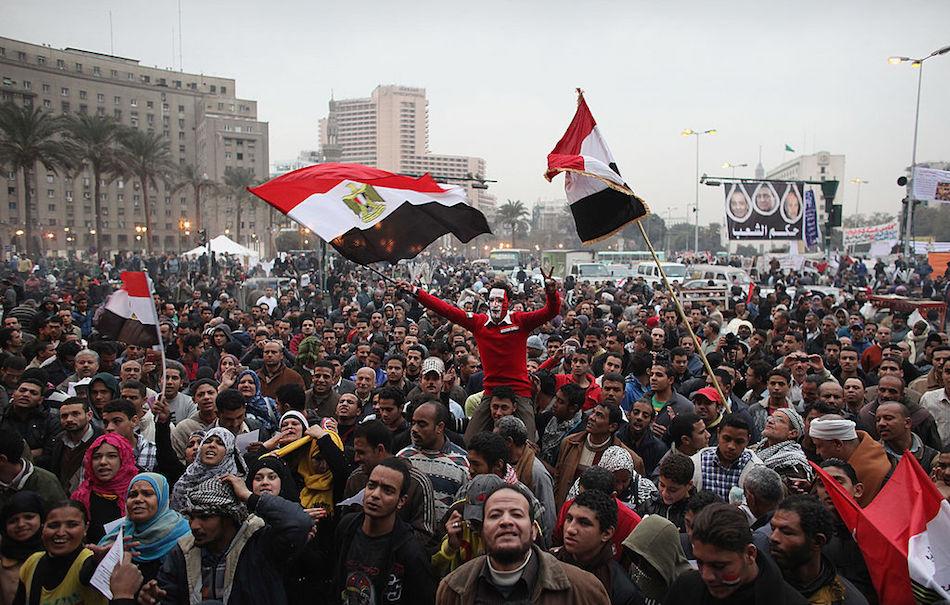 Piazza Tahrir Square nel 2012 durante i festeggiamenti per il primo anniversario della rivoluzione