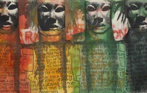 """Un dettaglio di Keith Piper, """"Black Assassin Saints"""",1987. Foto di Andy Keate"""
