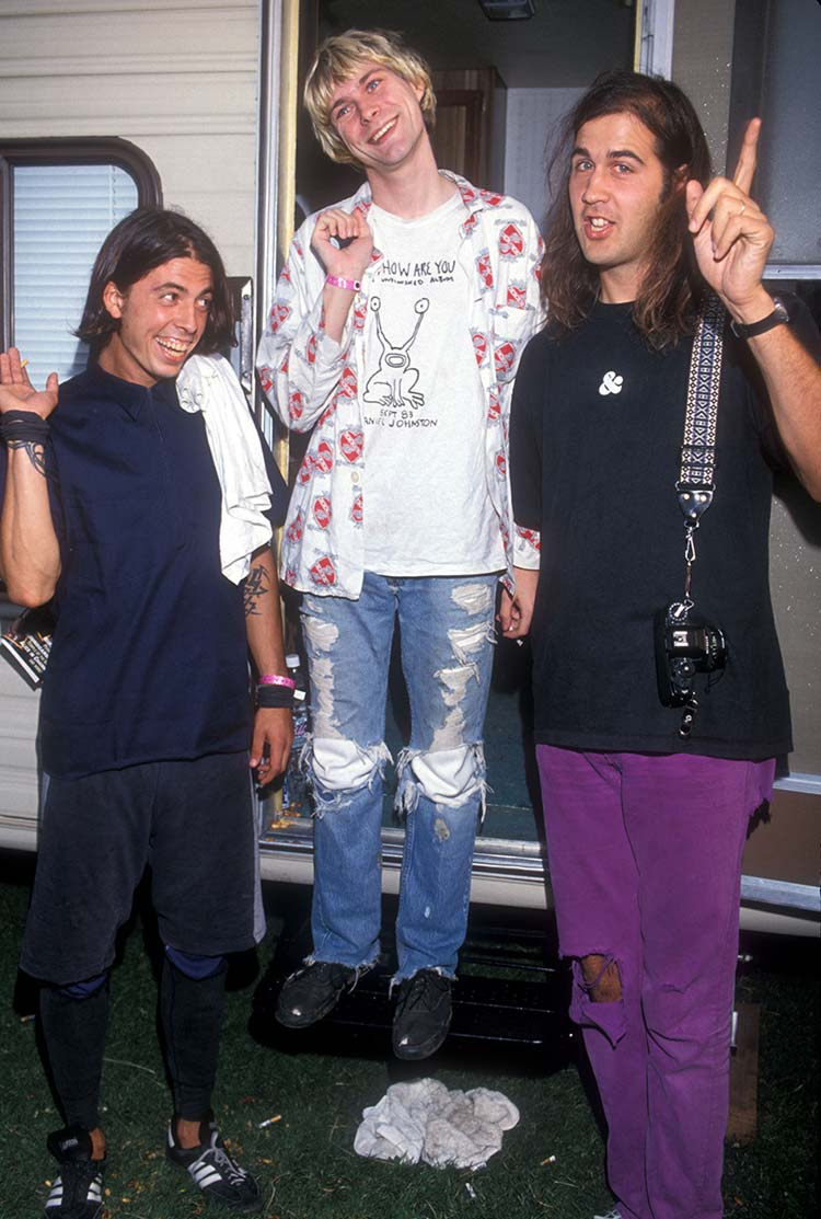 Dave Grohl, Kurt Cobain and Krist Novoselic of Nirvana (Photo by Kevin Mazur Archive/WireImage)