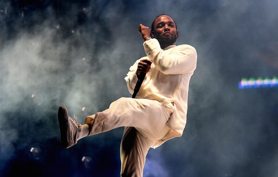 Kendrick Lamar durante la sua esibizione del 16 aprile al Coachella. Foto di Kevin Winter/Getty Images for Coachella