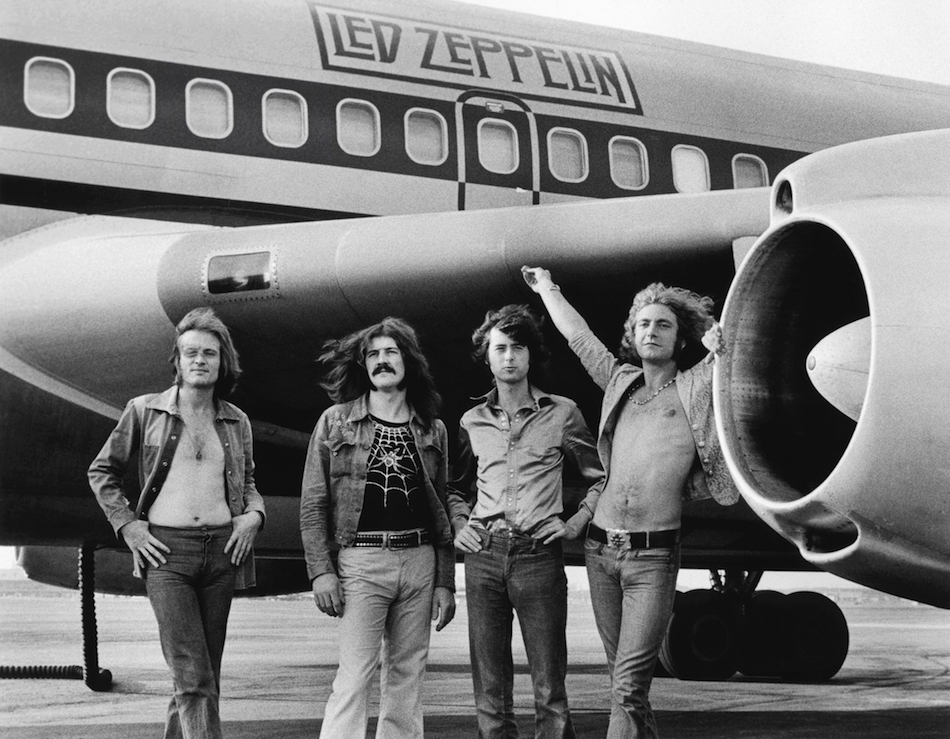 John Paul Jones, John Bonham, Jimmy Page e Robert Plant dei Led Zeppelin, New York, 24 luglio 1973. © Bob Gruen