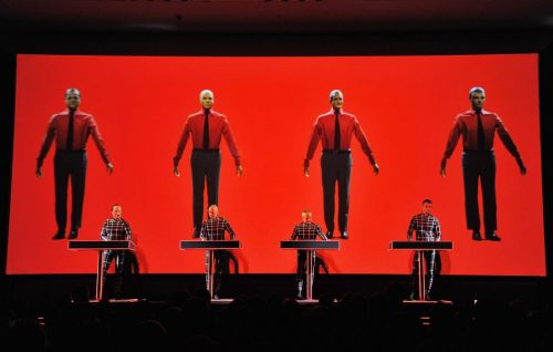 NEW YORK, NY - APRIL 10: (L-R) Ralf H?tter, Henning Schmitz, Fritz Hilpert, and Stefan Pfaffe of the band Kraftwerk perform during the Kraftwerk - Retrospective 1 2 3 4 5 6 7 8, Autobahn (1974) at The Museum of Modern Art on April 10, 2012 in New York City. (Photo by Mike Coppola/Getty Images)