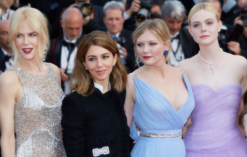 """Nicole Kidman, Sofia Coppola, Kirsten Dunst e Elle Fanning alla presentazione di """"The Beguiled"""". Foto di Kristina Nikishina/Epsilon/Getty Images"""