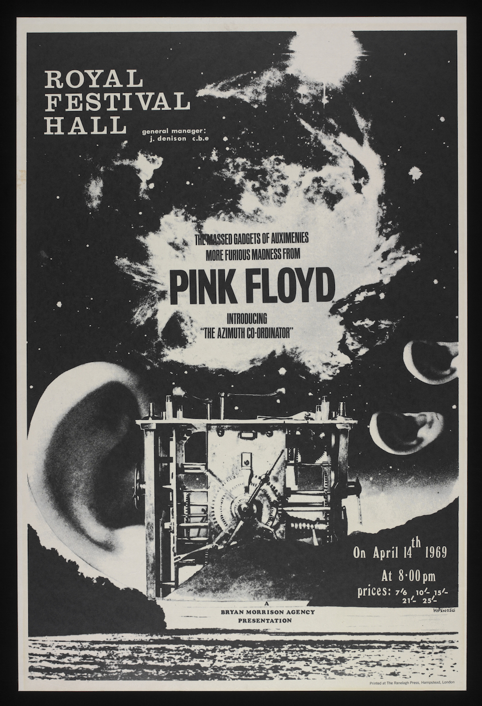 Il poster del concerto dei Pink Floyd al Royal Festival Hall del 14 aprile 1969, Hipgnosis; The Ranelagh Press Hampstead 1969