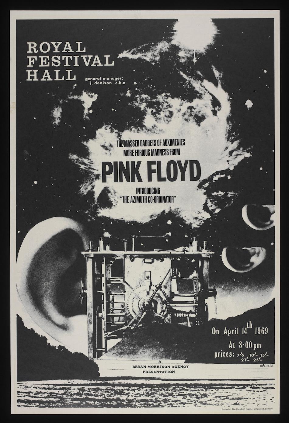 Il poster del concerto dei Pink Floyd al Royal Festival Hall del 14 aprile 1969, Hipgnosis; The Ranelagh Press Hampstead 1969
