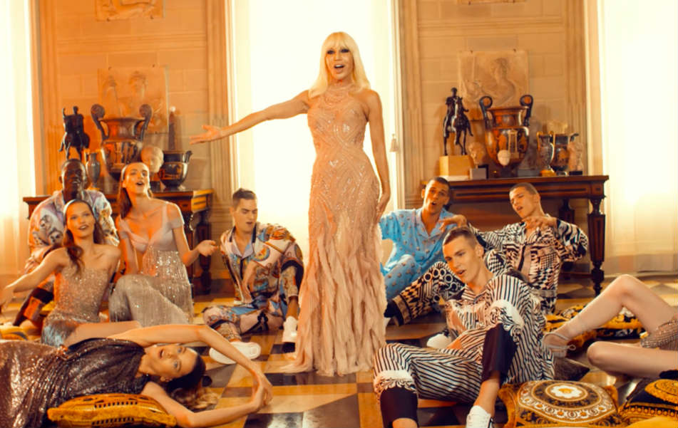 donatella versace on the floor