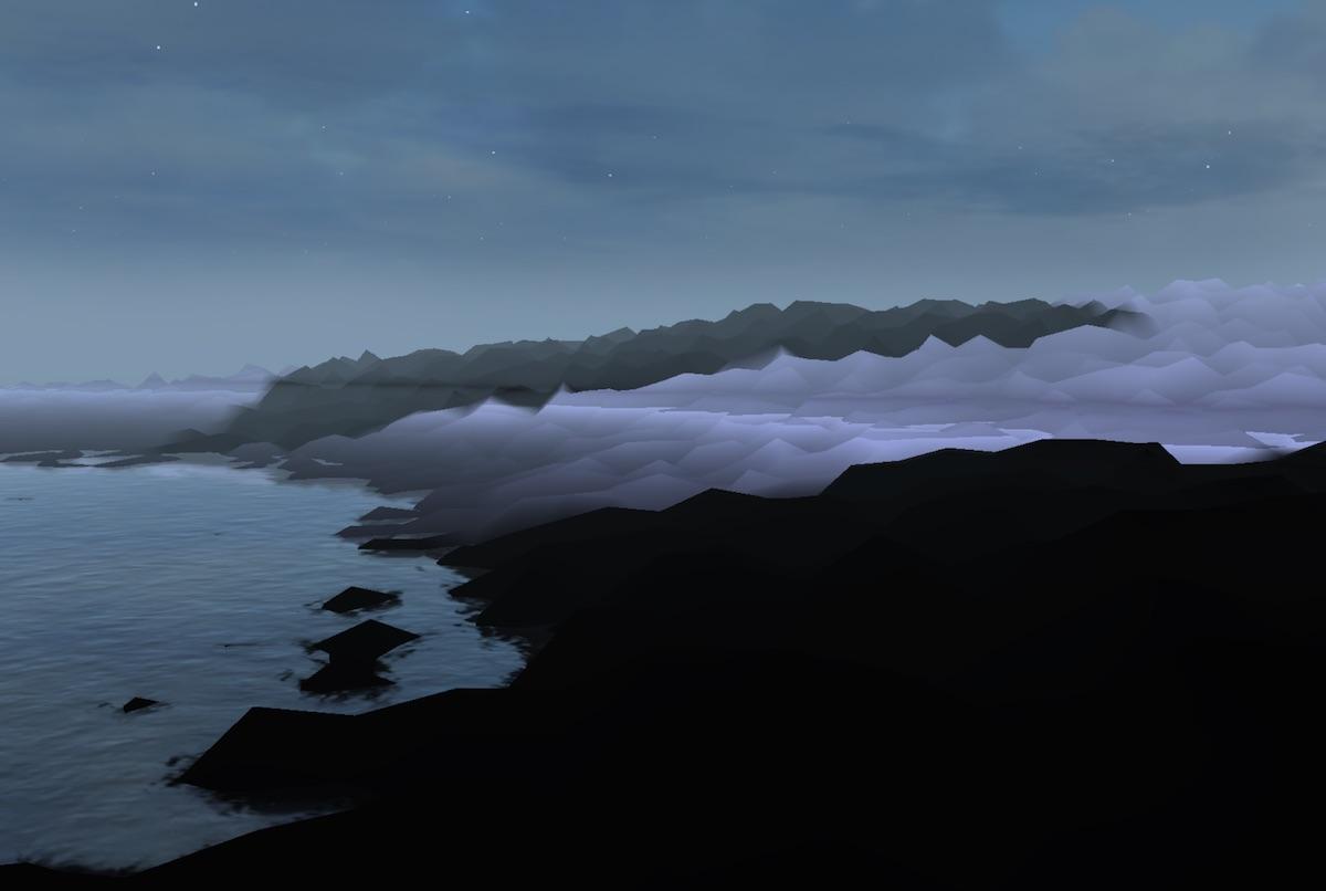 """Una cartolina da Hyperland, il mondo virtuale creato da Maccarelli per i Niagara nel videogioco """"Roger Water"""""""